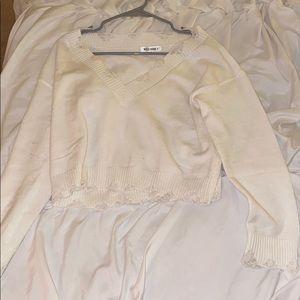 Distressed Cream Sweater